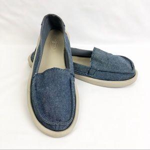 Sanuk Denim Chambray Slide-on Flats Shoes 7